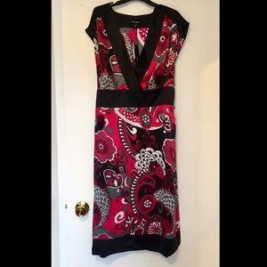 NWT 100% Silk Pink and Black High Waist Dress